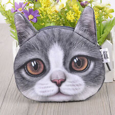 New Girl Women Lovely Cat Face Big Eyes 3D Print Coin Change Bags Purse Wallet