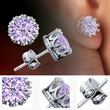 Women Earring 925 Sterling Silver Royal Ear Stud Earrings Jewelry Purple