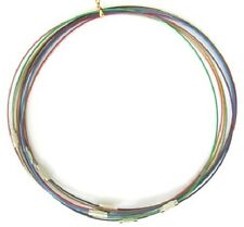 "5 x Steel Wire Necklace cords Brass Clasp 1mm 17.5"" Assorted Colours Nickel Free"