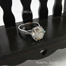 3.00CT VS1 OFF WHITE YELLOW REAL MOISSANITE .925 SILVER ENGAGEMENT RING