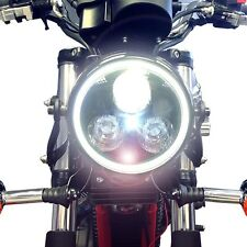 Negro Led Faros Con Blanco Angel Eye Halo Ring Motocicleta Cafe Racer proyecto