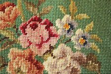 Vintage Needlepoint Lovely Green & Floral Chair Seats