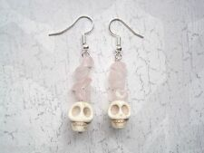 SKULL ROSE QUARTZ White Turquoise Gemstone Gothic Earrings Halloween TATTOO