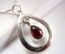 Garnet Necklace in Teardrop Hoop 925 Sterling Silver Imported from India New