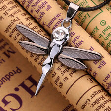 Stainless Steel Line Design Wing Dragonfly Pendant Necklace Black Chain