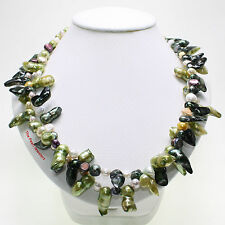 GREEN BAROQUE SHAPED CULTURED PEARL TWIST TWO IN ONE NECKLACE 925 SILVER CLASPS