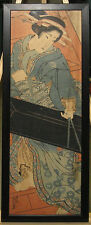 Keisai Eisen Rare Early 1800s Kakemono Woodblock Geisha Carrying Shamisen Box