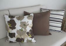 Set of 3 Mix & Match Brown Toned Linen Blend Cushion Covers 45cm