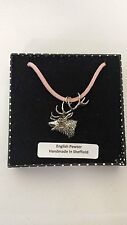 A53 Red Stag Head Motif Pewter  PENDENT ON A PINK CORD Necklace Handmade