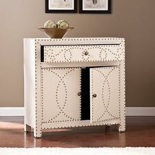 MSC51095 NATURAL LINEN /NAIL HEAD  2 DOORS / 1 DRAWER STORAGE CABINET
