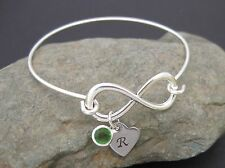Personalised Infinity Bangle Birthstone & Initialled Heart Hen Birthday Gift