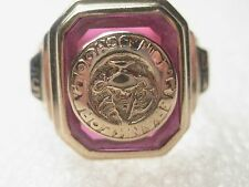 Vintage 1955 10kt Gold Class Ring, Frankford High, Red stone with Crest, sz. 6