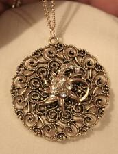 Filigree Antiqued Gold Swooped Dainty Rhinestone Flowers Pendant Necklace