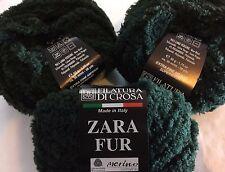LOT of 3 Filatura di Crosa Zara Fur Yarn #11 Hunter Green Merino Short Eyelash
