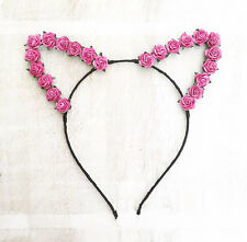 Cute black ribbon wrapped cat ears with pink paper rose flowers headband Kawaii