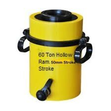 60 TON HOLLOW HYDRAULIC RAM CYLINDER WITH 50mm STROKE. £288.00 + VAT