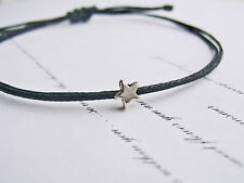 Tiny SILVER STAR BLACK Wax Cotton Cord String REGOLABILE AMICIZIA BRACCIALE