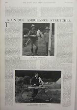 1902 PRINT ~ UNIQUE AMBULANCE STRETCHER CARRIES ON FOOT & BICYCLE