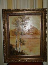 Vintage Original Framed Mountain Landscape Oil Painting on Canvas Signed Eads