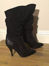 """Vintage POPPIES Black Leather Suede Slouch Boot 3.5"""" Heel NEW!! 80's Chic"""