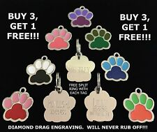 CUSTOM ENGRAVED PAW PRINT PET TAG ID DOG CAT IDENTIFICATION - BUY 3 GET 1 FREE!!
