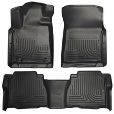 2010-2013 Toyota Tundra Husky Black WeatherBeater Front & 2nd Seat Floor Liners