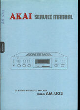 Rare Original Factory Akai AM U03 Stereo Amplier Amp Service Manual
