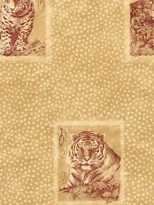 Tigers, Leopards in Frames on Spotted Background  Yellow/Tan  Wallpaper  TS38068
