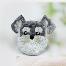 Cute Dog Schnauzer Patch Embroidered Face Iron On Sew On Patches