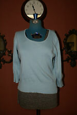 Women's - Petite Casual Corner Annex Size MP Blue Crew Neck 3/4 Sleeve Sweater