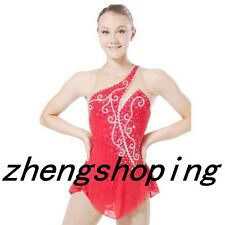 Red Premiere Ice Skating Dress/Dance Competition Skirted Baton Twirling Leotard