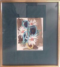 Henri PLISSON 1908-2002.Nature morte au bouquet.Technique mixte.15x12.SBD.Cadre.