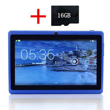 "Blue 7"" Inch A33 8GB Android 4.4 Quad Core Kids Touch Tablet PC + 16GB TF Card"