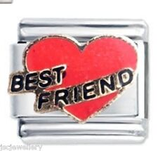 RED BEST FRIEND HEART - Daisy Charm Italian Charms for classic size bracelet