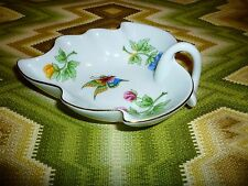 Hollohaza Leaf Shape Nut Dish Hungary Flowers and butterflys