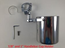 Motorcycle Handlebar Cup Holder Chrome Metal Drink Harley Davidson