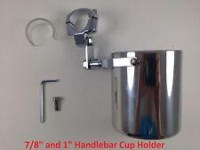 Motorcycle Handlebar Cup Holder Chrome Metal Drink Harley Davidson