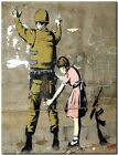 """BANKSY STREET ART CANVAS PRINT Girl Searches soldier 8""""X 12"""" stencil poster"""