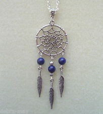 "Lapis Lazuli Dreamcatcher Feather Charm Pendant 22"" Chain Necklace"