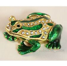 BEJEWELED RHINESTON CRYSTAL ENAMEL TRINKET/JEWELRY BOX-MINI FROG STATUE FIGURINE