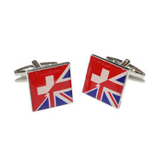 Union Jack UK England British Switzerland Swiss Flag CUFFLINKS Present GIFT BOX