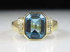 H. Stern 18K Blue Topaz Diamond Ring Yellow Gold Emerald Cut Swiss 2.84ctw