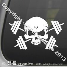 Weight Trainer Crossbones Decal - weight lifting set bars dumbbells gym workout