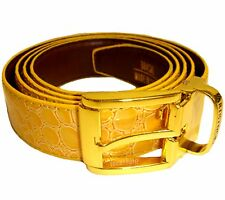 New fashion Leather like Men's Belt adjustable strap length mustard croco print