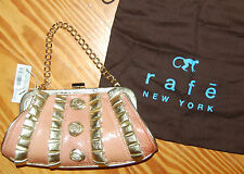 Rafe' New York Pink Snakeskin And Gold Purse Handbag Clutch NWT Retail $250.00