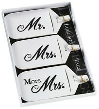 Mr Mrs & More Mrs Luggage Tags Wedding Gift Honeymoon Favors Set of 3 Travel