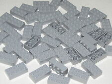Lego Lot of 50 New Light Bluish Gray Bricks 2 x 4 Dot Building Blocks