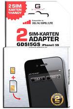 Dual SIM adapter iPhone 5S/ GDSI5GS/ 2 JAHRE Herstellergarantie!/ Mehrsprachig/