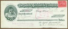 The Isdell Mercantile Company, Pony, MT, Company Check 1898