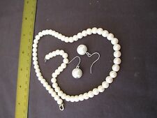 Single Strand Faux Pearl Necklace with Drop Pearl Earrings